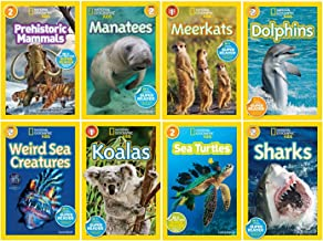 National Geographic Kids Readers 8 Book Set includes: Sharks, Sea Turtles, Weird Sea Creatures, Manatees,Meerkats, Dolphins, Koalas and Prehistoric Mamamals