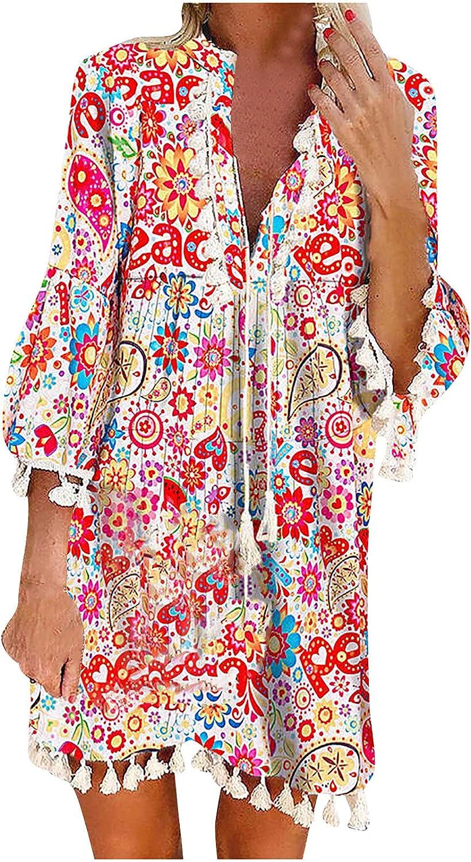 MEIbibibi Women Boho Tassels Mini Dress Trendy Floral Print Dresses Ruffle Long Sleeve Party Daily Dresses Sexy Deep V Dress