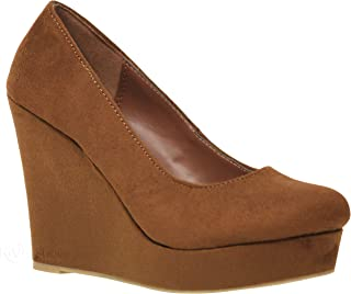 MVE Shoes Womens Stylish Platform Suede Rounded Toe Comfortable Wedge