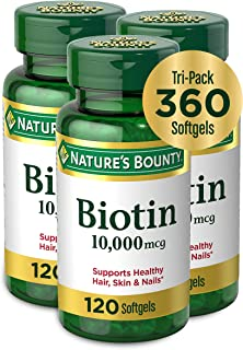 Nature's Bounty Biotin by, Vitamin Supplement, Supports Metabolism for Energy and Healthy Hair, Skin and Nails, 10000 mcg,...