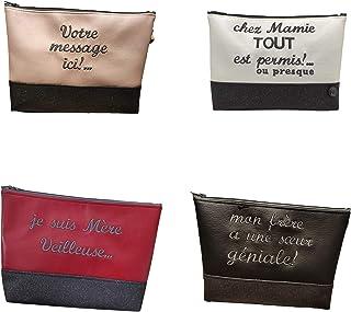 Trousse Pochette message personnalisable - Artisanale fabriquée en France avec soin - Facile d'entretien - ARTISAC