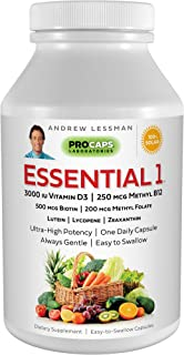 Sponsored Ad - Andrew Lessman Essential-1 Multivitamin 3000 IU Vitamin D3 60 Small Capsules – 250 mcg Methyl B12. Lutein L...