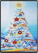 RICUVED DIY 5D Diamond Painting Notebook Cover Kits Special Shaped Pattern Faux Leather Ruled Journal Sketchbook Premium Thick Paper A5 Christmas Tree