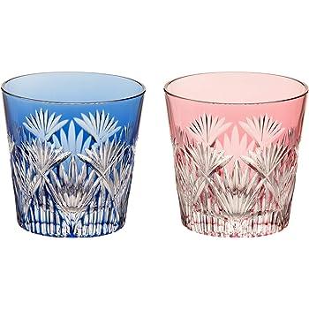カガミクリスタル(Kagami) ペア冷酒杯 赤青 120㏄ 江戸切子 笹っ葉に斜十文字紋 #2406