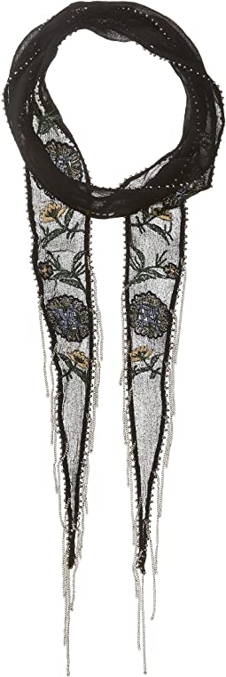 Chan Luu - Floral Embroidered Skinny Scarf
