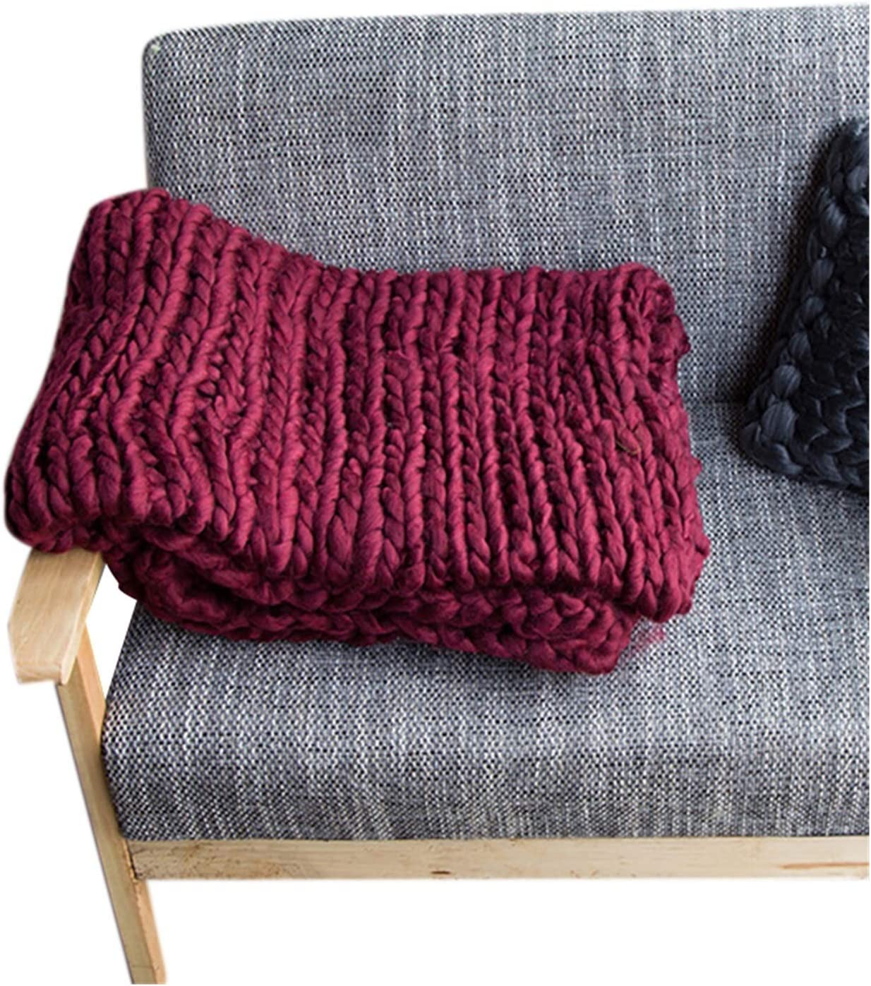 JDJD Hand Knitted Chunky Outlet SALE Blanket Regular discount Bulky Thick Wool Yarn Weighted