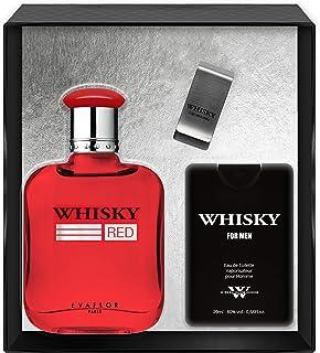Evaflorparis Whisky Red Gift Box Eau de Toilette 100 Ml + Travel Perfume 20 Ml + Money Clip Set Perfume Spray Men Perfume ...