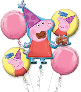 Peppa Pig Balloon Birthday Party Favour Supplies 5ct Foil Balloon Bouquet