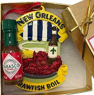 CopperFancy LLC New Orleans Crawfish Boil Ornament Food Travel Tree Cajun Theme Party Favor Gift Decor Crayfish Boil Party Favor Decoration NOLA Spicy French Quarter Souvenir w Gift Box Xm