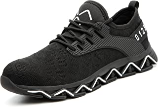 Tongzone Hollow Out Mesh Up Steel Toe Shoes for Mens and Womens, Puncture Proof Industrial Construction Safety Work Shoes