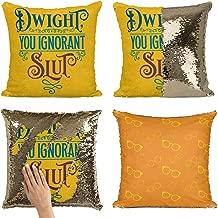 Bad Bananas Dwight You Ignorant Pillow - Reversible Flip Sequin Throw Pillowcase - Funny Gag Gift Pillow Cover - Dwight Schrute Pillow Cover