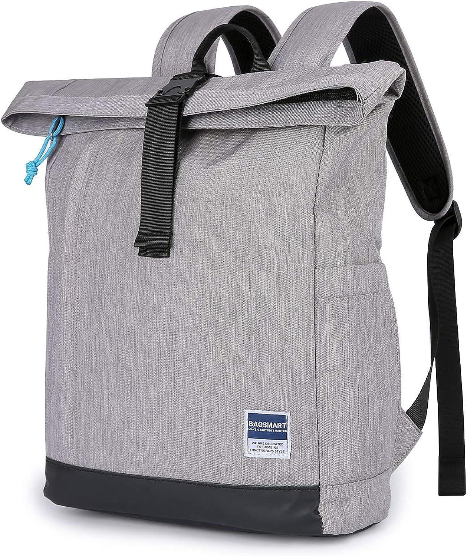 BAGSMART Laptop Backpack Business Backpack Daypack School Backpack Work Bag Rolltop Travel Backpack for Men and Women Fit up to 15.6 Inch Laptop, 16L
