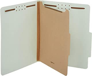 AmazonBasics Pressboard Classification File Folder with Fasteners, 1 Divider, 1.75 Inch Expansion, Letter Size, Light Gree...