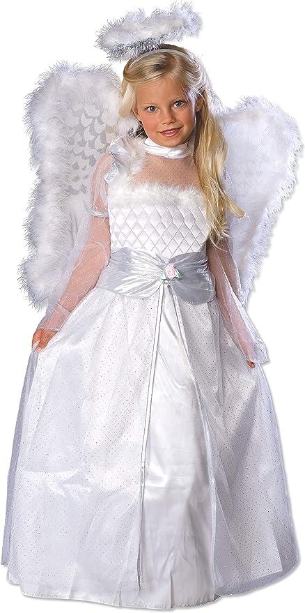 Childrens blanc /& Gold Angel Costume Robe Fantaisie Gabriel Outfit 128cm