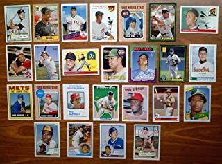 2006 Topps Baseball Rookie of the Week Baseball Complete 25 Card Set - Loaded with HOFers - Great reprint Rookie Cards including 2 x 1952 Mickey Mantle, 1993 Derek Jeter, 1955 Roberto Clemente, 1967 Tom Seaver, 1982 Cal Ripken, 1968 Johnny Bench, 1968 Nolan Ryan, 1969 Reggie Jackson, 1979 Ozzie Smith, 1980 Rickey Henderson, 1973 Mike Schmidt, 1975 Brett, 2001 Ichiro, 2001 Pujols, 1983 Gwym, 1959 Bob Gibson, 1983 Sandberg, 1983 Boggs, 1954 Ernie Banks, 1985 Roger Clemens, 1987 Barry Bonds, 1954 Harmon Killebrew, 1957 Brooks Robinson, 1957 Frank Robinson - shipped in an acrylic case