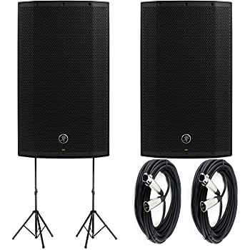 """Mackie Thump12A - 1300W 12"""" Powered Loudspeakers Bundle (Pair) with (2) Auray SS-4420 Steel Speaker Stand and (2) XLR-XLR Cable"""