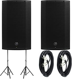 """Mackie Thump12A - 1300W 12"""" Powered Loudspeakers Bundle (Pair) with (2) Auray SS-4420 Steel Speaker Stand and (2) XLR-XLR ..."""
