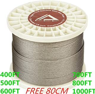 "T316 Stainless Steel Cable 1/8"" Aircraft Wire Rope for Deck Cable Railing Kit, (7x7 800FT),Corrosion Resistance Grade"