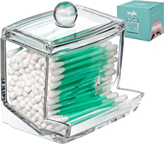 Qtip Cotton Swab Dispenser Holder - Acrylic Apothecary Vanity countertop Organizer Box Jars for qtips Bobby pins toothpicks Cotton Balls & Any Small Health Beauty Bathroom Accessories Items Holder!