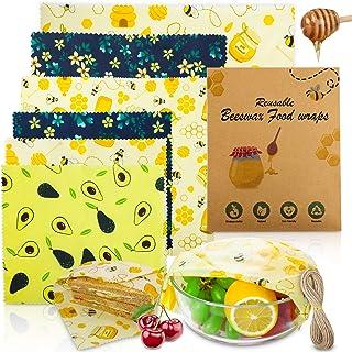 Popolic Bienenwachstücher 6PCS, Waschbare Wiederverwendbare Wachspapier, Natürlichem Wachstuch Aufbewahrung für Lebensmittel Klein Mittel Groß, Käsepapier und Sandwich Verpackungen Kommt mit Seil