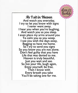 8x10 UNFRAMED PRINT As I Sit in Heaven Poem/Print Sign/Memorial Remembrance In Loving Memory Wall Décor White