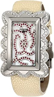 SK47727L Limited Edition Swiss Diamond Watch With Red Rubies, Mother-Of-Pearl Dial, Genuine Stingray