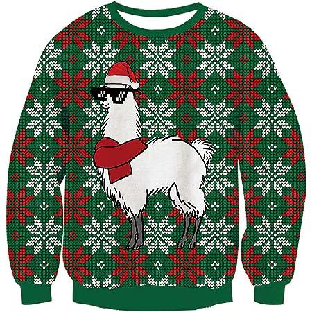 Goosuny Weihnachtspullover Damen Oversize Winter Langarm Pullover Weihnachts Alpaka Drucken Sweatshirt Tops Bluse Weihnachtspulli Sweatshirt Xmas Winterpulli T Shirts Kapuzenshirt