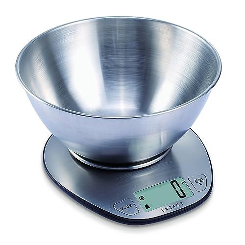 Exzact Premium Balanza Electrónica de Cocina/Escala Electrónica con Pantalla Grande y con Cuenco de