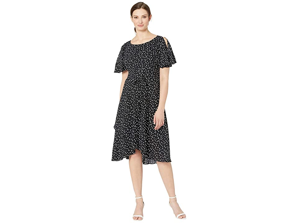 Anne Klein Ritz Dot Printed CDC Flutter Sleeve Sash Dress (Anne Black/Anne White) Women