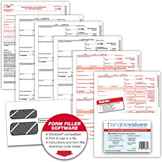 Tangible Values 1099 Misc Laser Tax Forms (4-Part) Kit with Env for 25 Vendors + 1096 forms, FREE form filler software, Designed for Accounting & QuickBooks Software (2019)