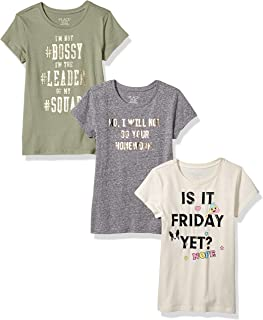 Big Girls' 3 Pack Short Sleeve Graphic T-Shirts