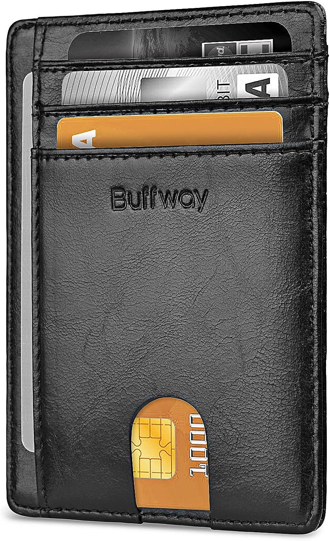 Buffway Slim Minimalist Front Pocket Blocking New York Mall Leather RFID Arlington Mall Walle