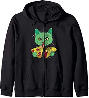 Funny Cosmic Space Green Alien Cat Eating Pizza and Taco Zip Hoodie