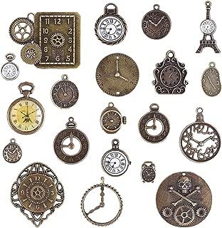 BronaGrand 20個入り 時計の文字盤ジュエリーペンダント 混合ビンテージスチームパンクスタイル ブレスレット/ネックレス/DIYジュエリー/アクセサリー作り