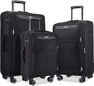 SHOWKOO Luggage Sets 3 Piece Softside Expandable Lightweight Durable Suitcase Sets Double Spinner Wheels TSA Lock Black (2...