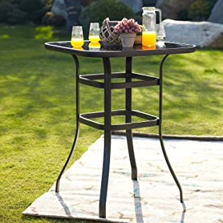 """Festival Depot 40"""" Bar Height Outdoor Patio Bistro Table Metal Square Side Table Tempered Glass Top All Weather (31.3""""x 31.3""""x 41.2""""H)"""