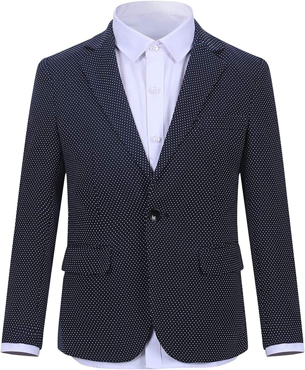 Boys Formal Blazer Slim Fit Single Breasted Solid Colors