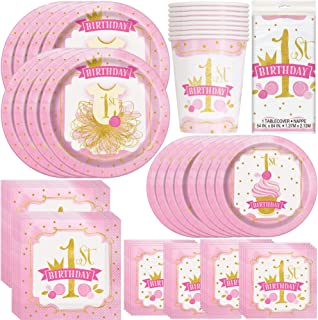 Unique Pink & Gold First Birthday Party Bundle | Luncheon & Beverage Napkins, Dinner & Dessert Plates, Table Cover, Cups | Great for Fairytale/Royal/Princess Themed Parties