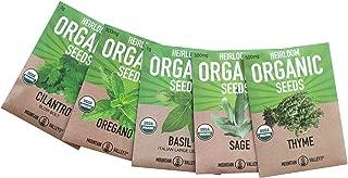 Organic Italian Herb Garden Seed Collection - 5 Non-GMO, Organic Seed Packets - Oregano, Thyme, Basil, Sage, Cilantro - Kitchen Culinary Herb Gardening Seeds