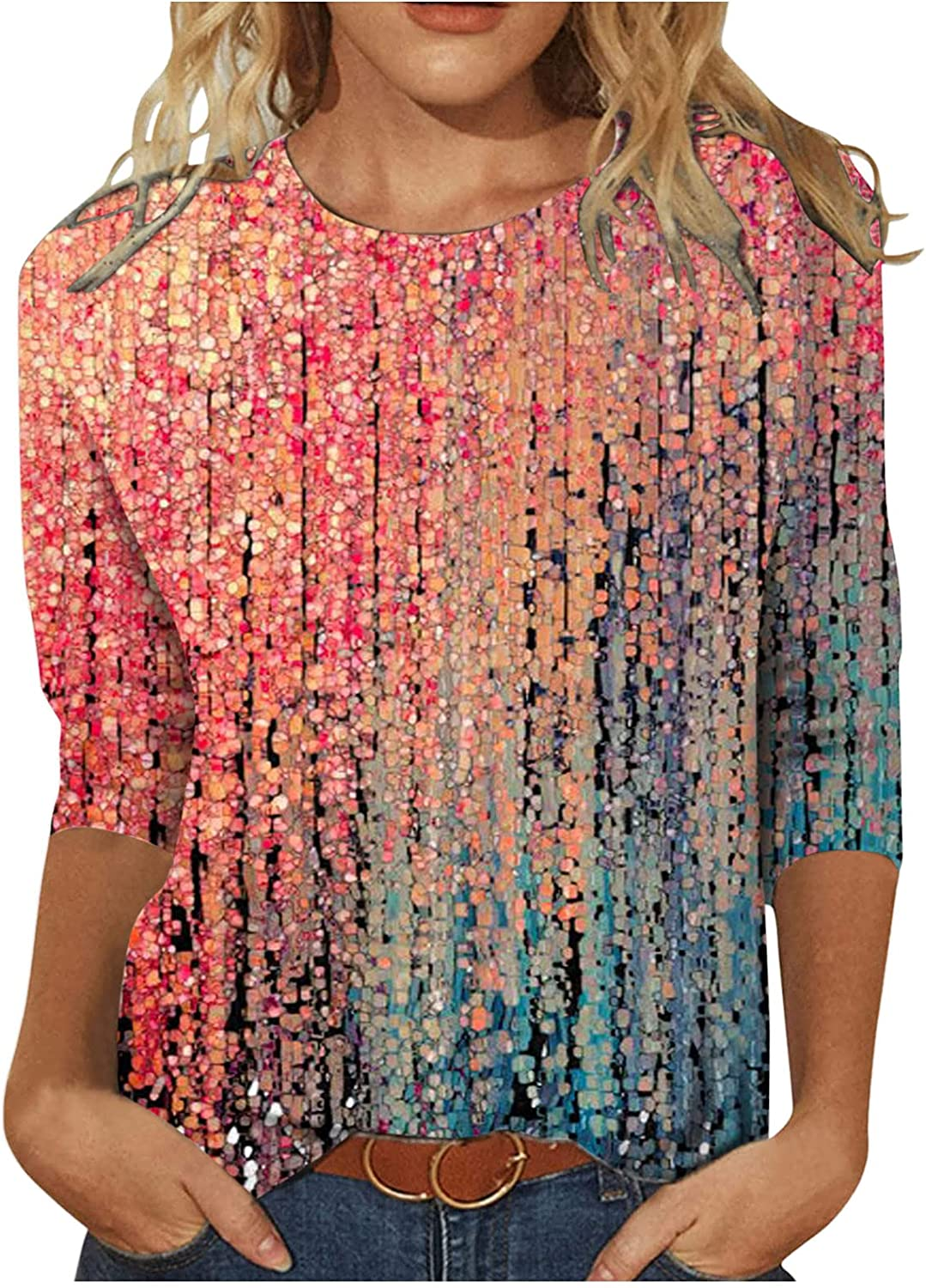 Womens 3/4 Long Sleeve Crew Neck Paisley Floral Print Tunic Blouses Casual Comfy Basic Tops Blusas de Mujer Elegantes