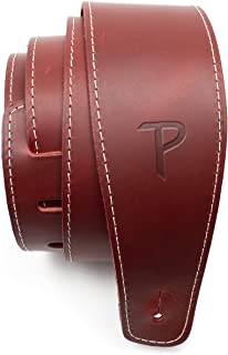 """Perri's Leathers Ltd Guitar Strap, 2.5"""" Wide Baseball Leather, Adjustable Length, (SP25S-7163) Red, Made in Canada"""