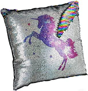 meowtastic Unicorn Pillow, Sequin Pillow Insert Included, 16