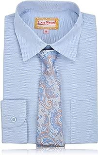 JAMES MORGAN Boys Weave Design Dress Shirt with Tie - Sizes 4-7