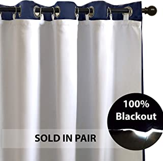 DriftAway Thermal Insulated 100 Percent Darkening Blackout Curtain Liner for 84 Inch Grommet Curtains 2 Panels Each Liner Size 50 Inch by 80 Inch Rings Included Off White Panel