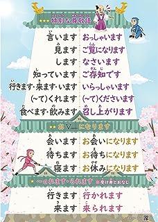 日本語教師・学習者のための尊敬語表(A1サイズ漢字版)『みんなの日本語』準拠