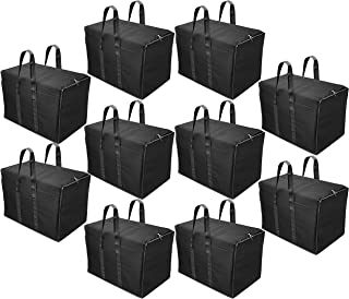 Storite 10 Pack Multi-Purpose Storage Bag/Clothing Storage Organiser/Toy Storage Bag/Stationery Paper Storage Bag with Zipper Closure and Strong Handle-(Black, 57x 36.5X 40.5 cm)