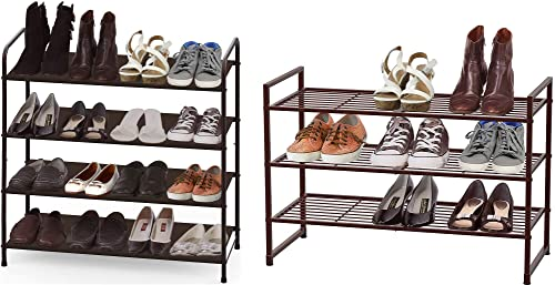 new arrival Simple Houseware high quality 4-Tier Shoe Rack + 3-Tier Stackable online Shoes Rack online