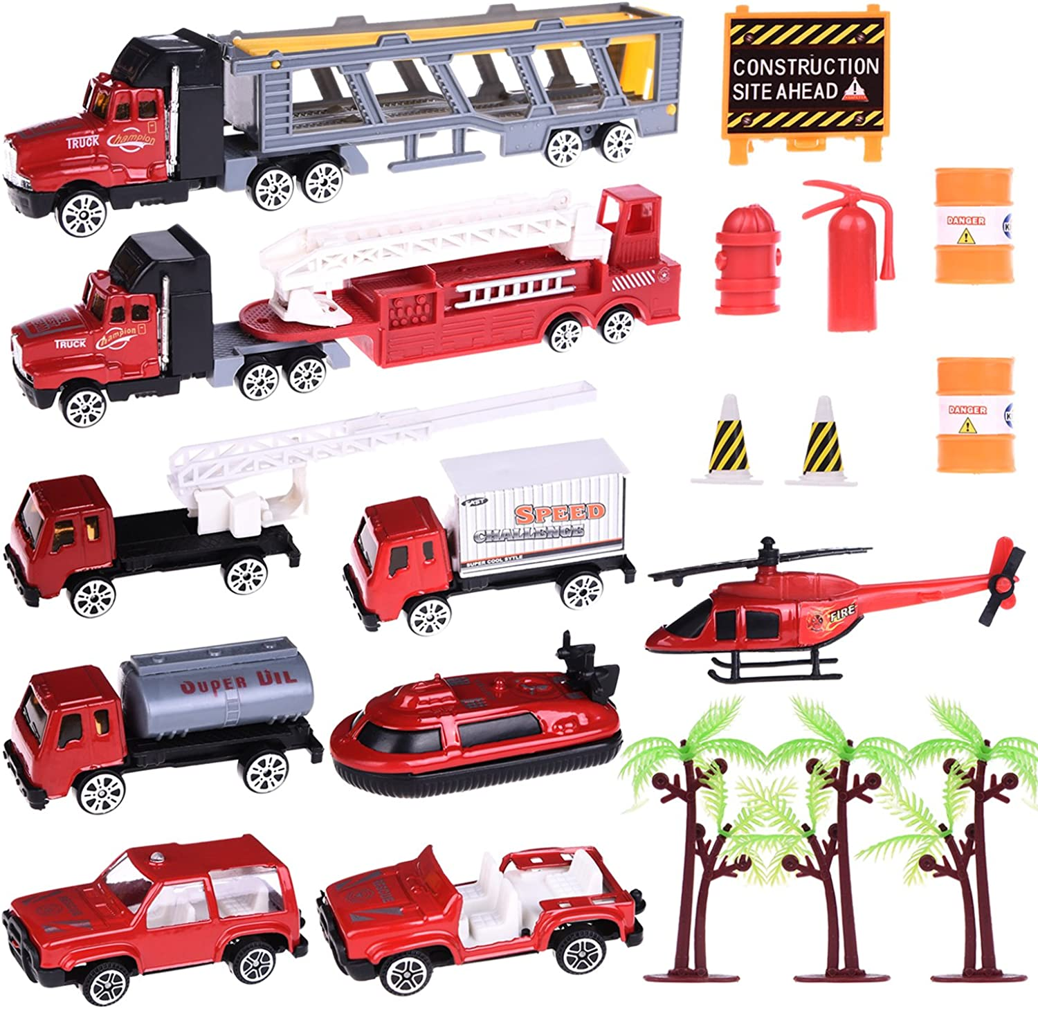 Diecast Car Set Fire Rescue Hero Role Play Action Figures Matchbox Back to School Vehicle Playset for Birthday Parties, Classroom Rewards, Goodie Bag Stuffer, Collections - 20pcs