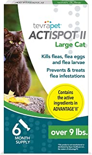 TevraPet Actispot II Flea Prevention & Treatment for Cats - Topical - for Cats Over 9 Lbs