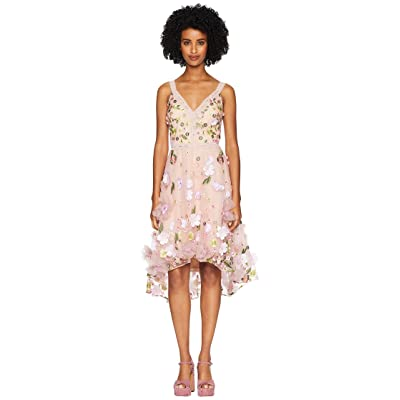 Marchesa Notte Sleeveless V-Neck High-Low Multicolored 3D Floral Embroidered Cocktail with Trims (Blush) Women